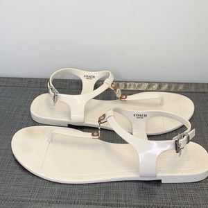Coach Piccadilly white jelly sandals